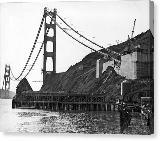 Marin County Canvas Print - Golden Gate Bridge Work by Underwood Archives
