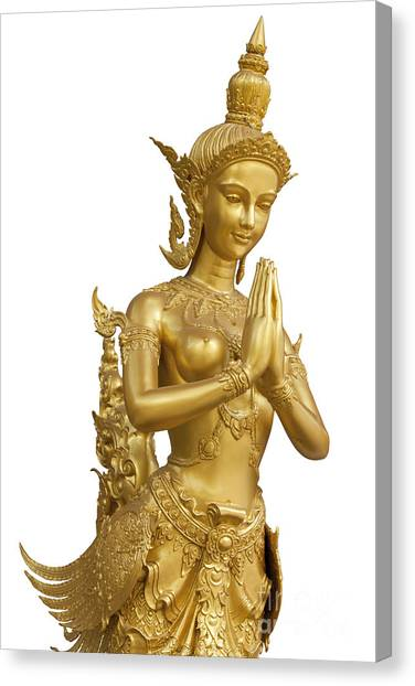 Religious Artist Canvas Print - Goldent Ginnaree Statue Art  by Anek Suwannaphoom