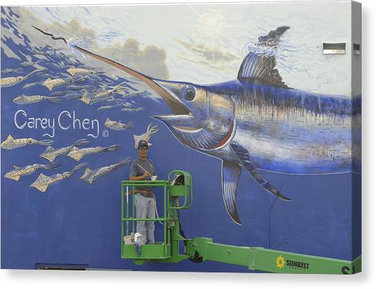 Swordfish Canvas Print - Gray Taxidermy Mural by Carey Chen