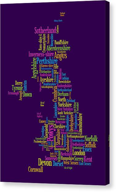 United Kingdom Canvas Print - Great Britain Uk County Text Map by Michael Tompsett