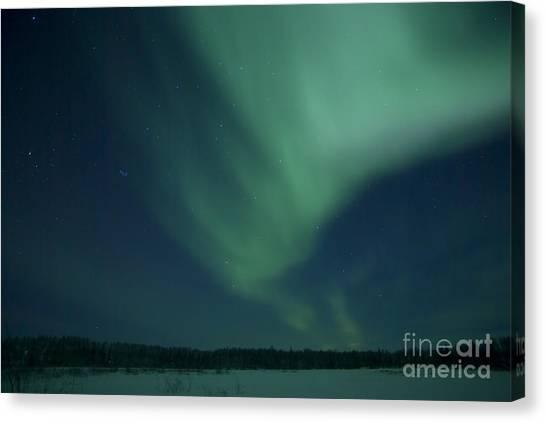 Northwest Territories Canvas Print - Green Aurora Above Far Lake by Yuichi Takasaka