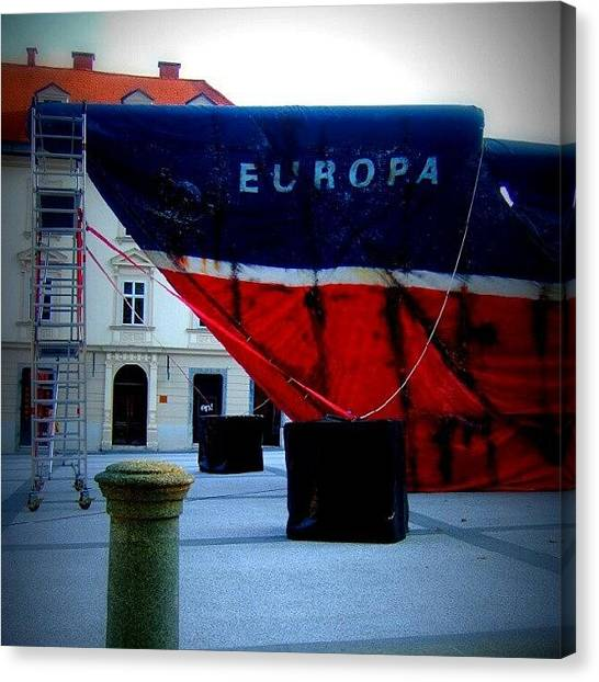 Soccer Leagues Canvas Print - Greenpeace - Ljubljana by Leon Grenko