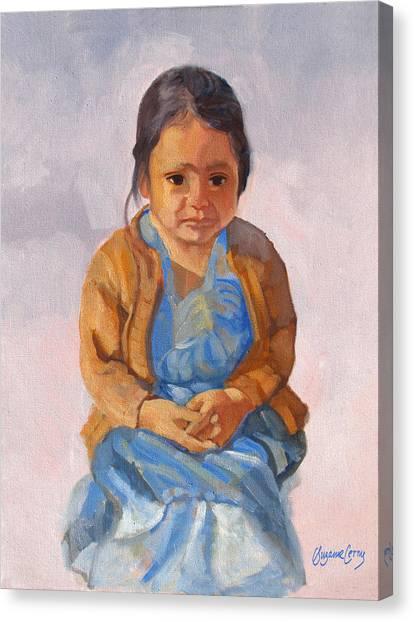 Guatemalan Girl In Blue Dress Canvas Print