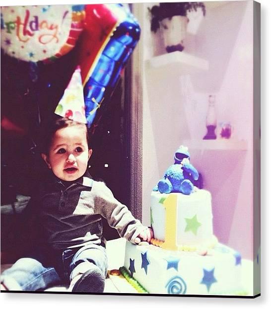 Happy Birthday Canvas Print - Happy 1st Birthday Baby B #birthday by Amaal Alotaibi