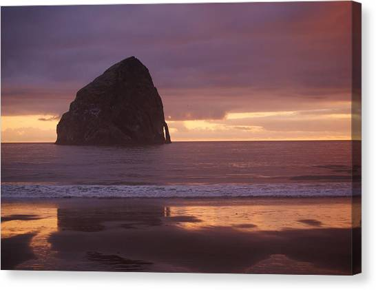 Haystack Rock Canvas Print by Angi Parks