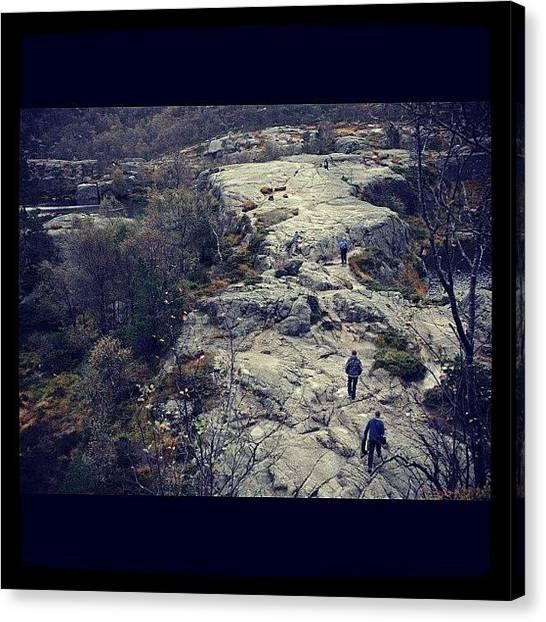Preikestolen Canvas Print - Hiking In Preikestolen #preikestolen by Kiko Bustamante
