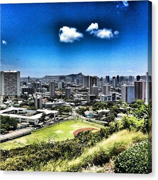 Volcanoes Canvas Print - Honolulu From Punchbowl Crater by Jody Robinson