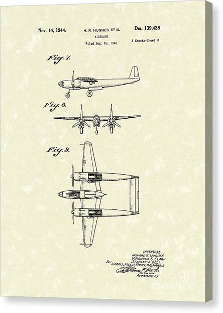 Prop Planes Canvas Print - Howard Hughes Airplane 1944 Patent Art   by Prior Art Design