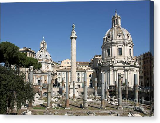 The Forum Canvas Print - Imperial Fora With The Trajan's Column And The Church Santissimo Nome Di Maria.  Rome by Bernard Jaubert
