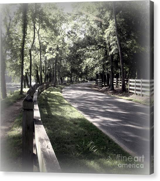 In My Dream The Road Less Traveled Canvas Print by Nancy Dole McGuigan
