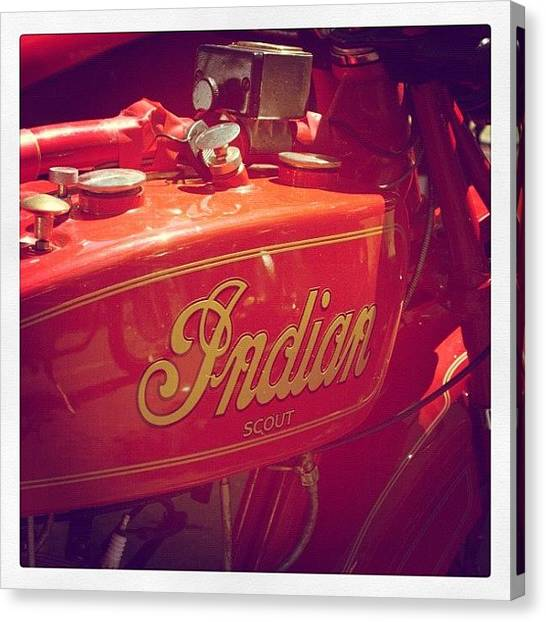 Scouting Canvas Print - Indian Motorcycle by Kim Gourlay