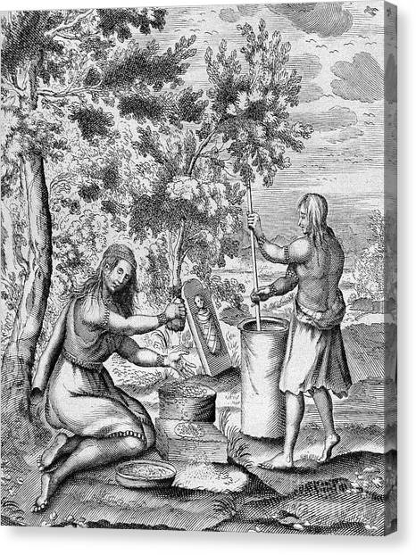 Indian Corn Canvas Print - Iroquois Women, 1664 by Granger