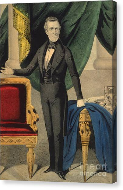 Smithsonian Institute Canvas Print - James Polk, 11th American President by Photo Researchers