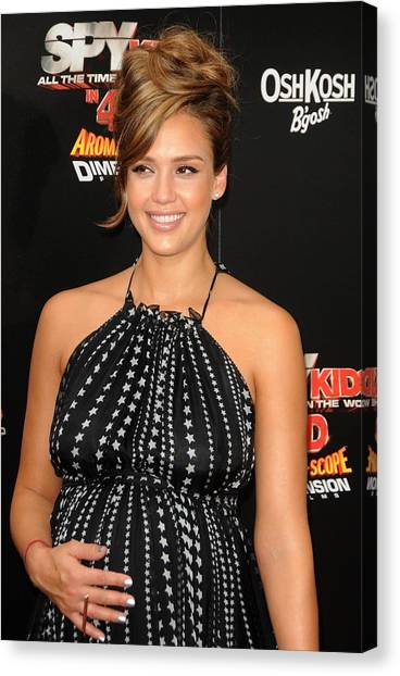 Jessica Alba Canvas Print - Jessica Alba At Arrivals For World by Everett