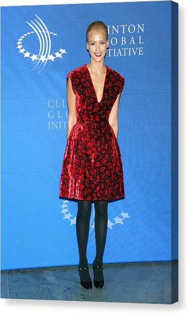 Jessica Alba Canvas Print - Jessica Alba Wearing A Prada Dress by Everett