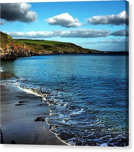 Beach Cliffs Canvas Print - Kenneggy Cove Cornwall by Steve James