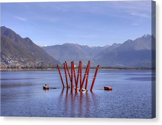 Installation Art Canvas Print - Lake Maggiore Locarno by Joana Kruse