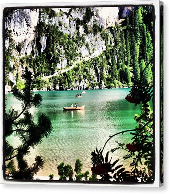 Transportation Canvas Print - Lake Of Braies - South Tyrol by Luisa Azzolini