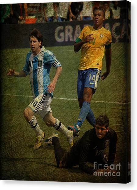 Lionel Messi Canvas Print - Lionel Messi Breaking Raphael Cabrals Ankles II by Lee Dos Santos