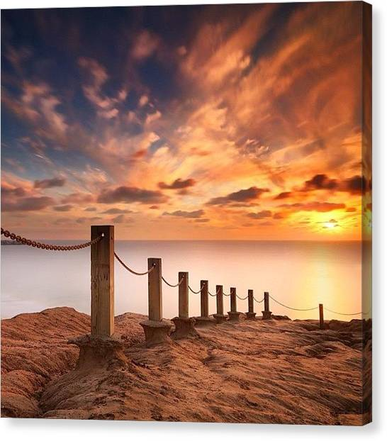 Canvas Print - Long Exposure Sunset Taken From The by Larry Marshall
