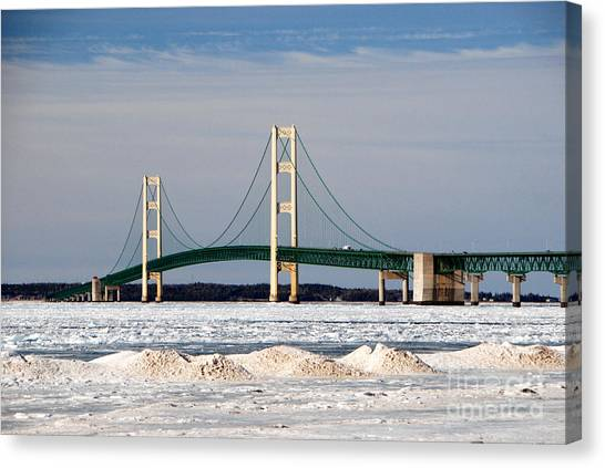 Mackinac Bridge In Winter Canvas Print
