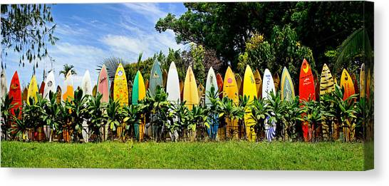 Surfboard Fence Canvas Print - Maui Surfboard Fence by Rob DeCamp