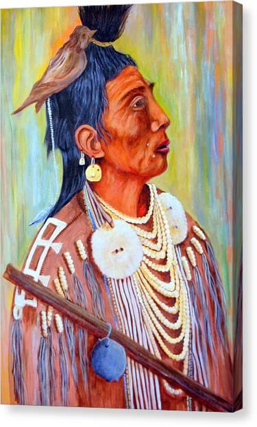 Medicine Crow-warrior Canvas Print by Janna Columbus