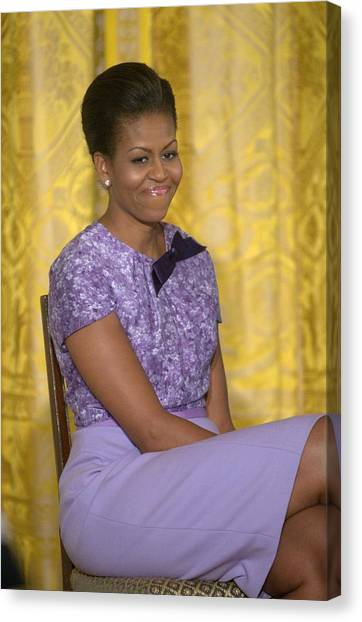 At A Public Appearance Canvas Print - Michelle Obama Wearing An Anne Klein by Everett