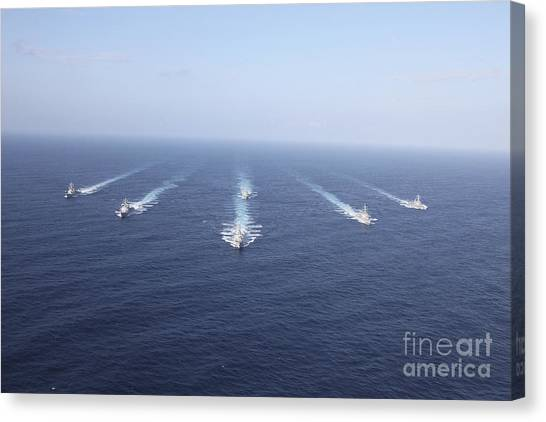 John Mccain Canvas Print - Military Ships Transit The Philippine by Stocktrek Images