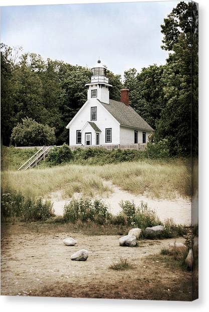 Mission Point Lighthouse Canvas Print by Christy Woods