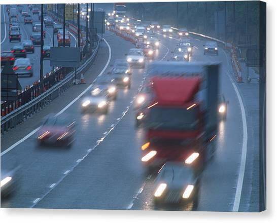 Motorway Traffic Canvas Print by Jeremy Walker