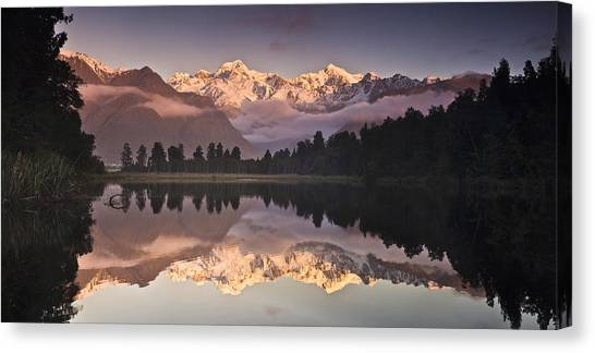 Fox Glacier Canvas Print - Mount Cook And Mount Tasman And Lake by Colin Monteath