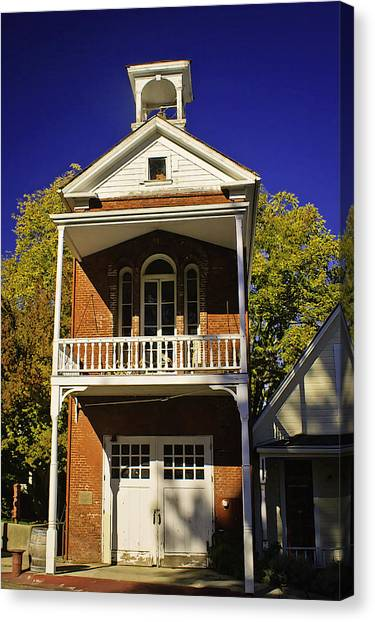 Nevada City Fire Station Canvas Print by Sherri Meyer