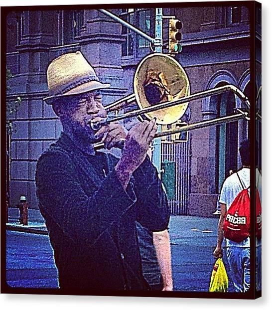 Trombones Canvas Print - #newyorkcity #streetmusician 🎶💕 by Jodi Jankowski