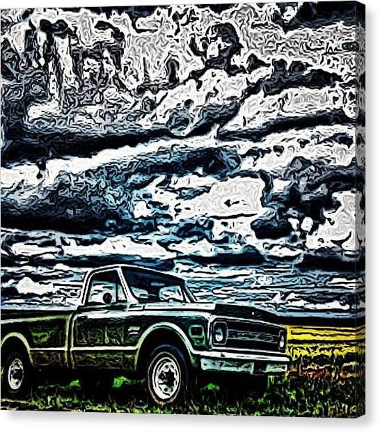 Trucks Canvas Print - #northdakota #clouds #sky #skyporn by Emily Nielsen
