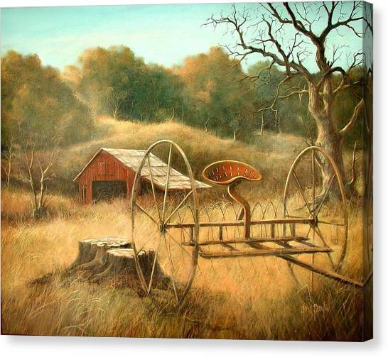 Old Barn And Hay Rake Canvas Print