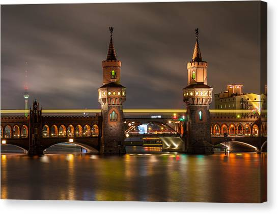 Robert Frank Canvas Print - Old Bridge In Colorful Lights by Robert Frank