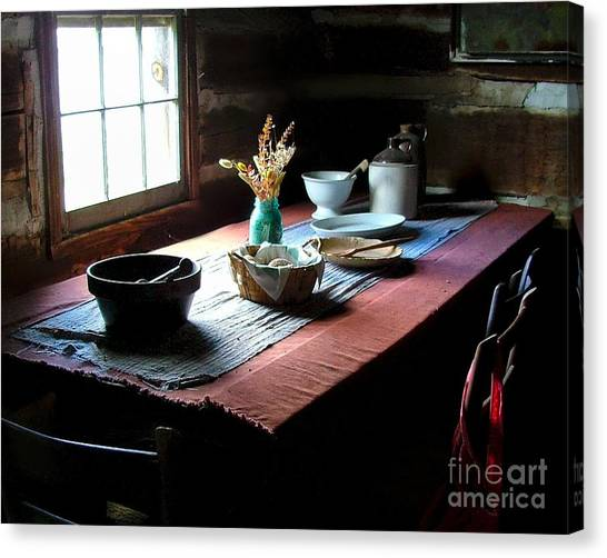 Crock Canvas Print - Old Cabin Table by Julie Dant