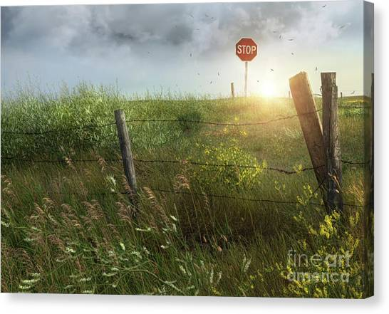 Stop Sign Canvas Print - Old Country Fence On The Prairies by Sandra Cunningham
