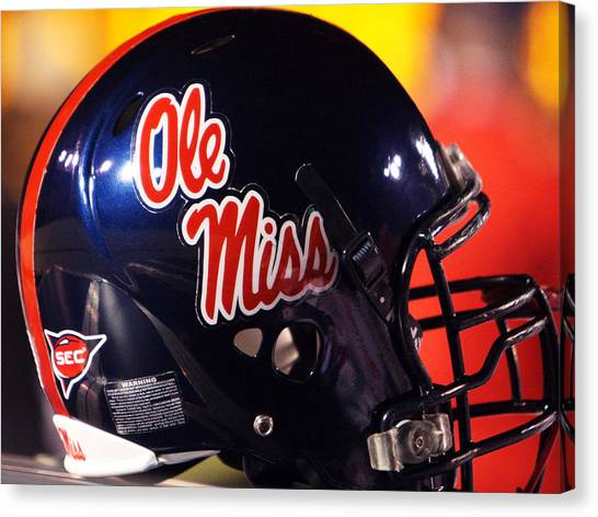 Sec Canvas Print - Ole Miss Football Helmet by University of Mississippi