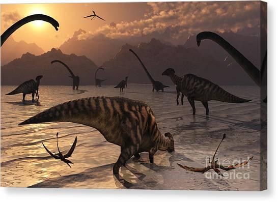 Pterodactyls Canvas Print - Omeisaurus And Parasaurolphus Dinosaurs by Mark Stevenson
