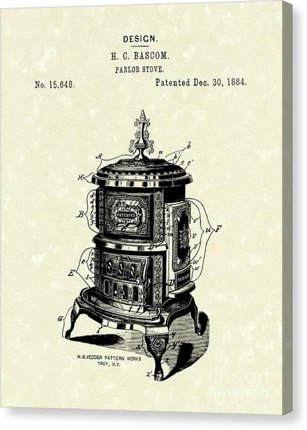 1880s Canvas Print - Parlor Stove Bascom 1884 Patent Art by Prior Art Design
