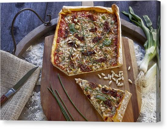 Pizza Canvas Print - Pizza With Herbs by Joana Kruse