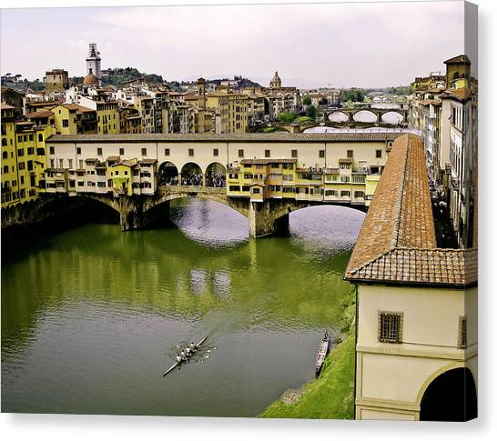 The Uffizi Gallery Canvas Print - Ponte Vecchio Florence Italy by Forest Alan Lee