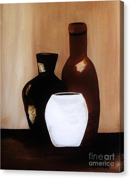 Pottery From Portugal  Canvas Print by Marsha Heiken