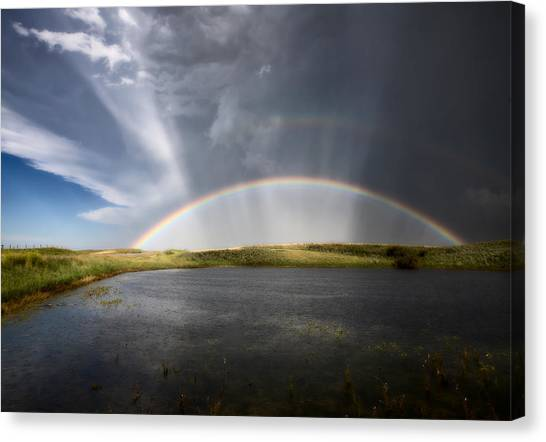 Hailstorms Canvas Print - Prairie Hail Storm And Rainbow by Mark Duffy