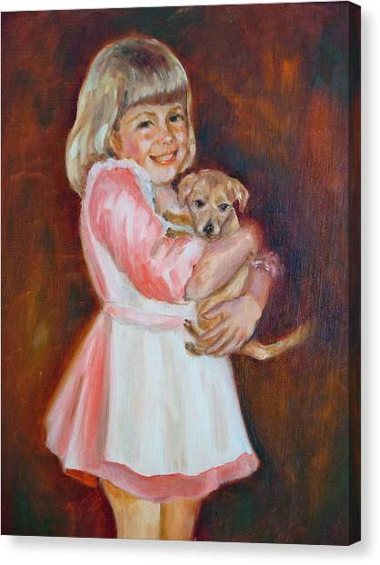 Puppy Love Canvas Print by Holly LaDue Ulrich