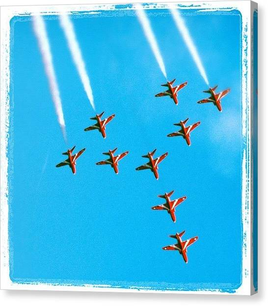 Flying Canvas Print - Red Arrows Airshow - Aircrafts Flying In Formation by Matthias Hauser