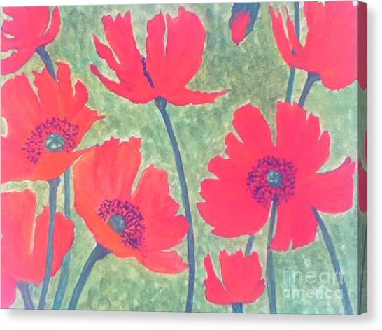 Red Poppies Canvas Print by Berta Barocio-Sullivan