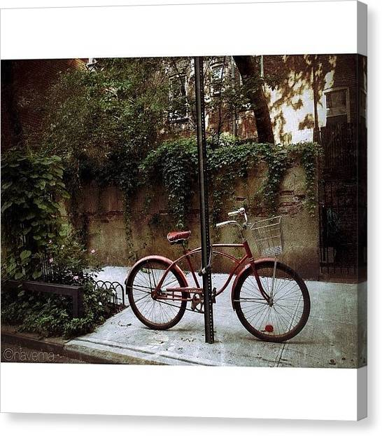 Bicycle Canvas Print - Red Rambler On Commerce Street by Natasha Marco